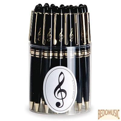 Fekete golyóstoll, aranyszínű violinkulcs mintával