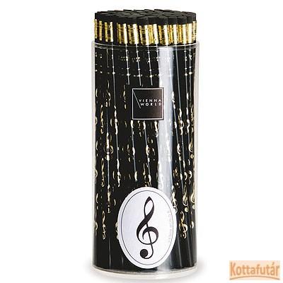 Ceruza, radíros végű, violinkulcsos mintával, fekete