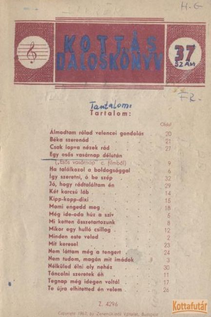 Kottás daloskönyv 37. sz.