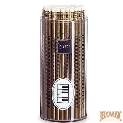 Ceruza, radíros végű, zongorabillentyűs mintával, arany színű