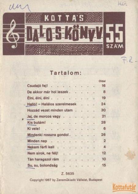 Kottás daloskönyv 55. sz.