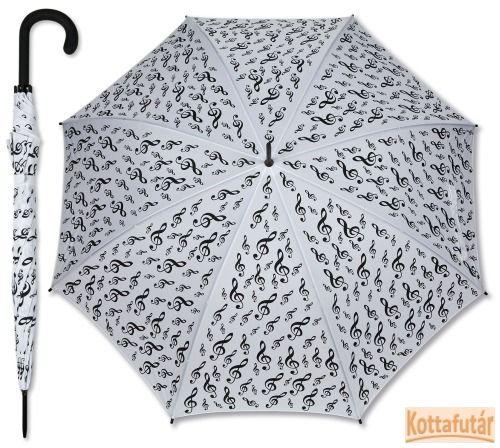 Fehér botesernyő, fekete violinkulcsos mintával