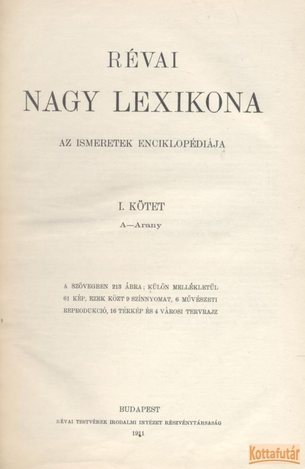 Révai nagy lexikona I. kötet A-Arany