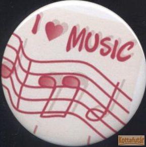 """Hűtőmágnes, fehér alapon, piros """"I love Music"""" felirattal"""
