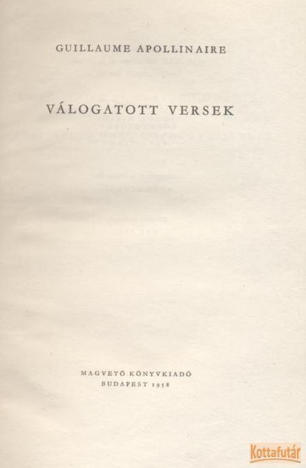 Apollinaire válogatott versei
