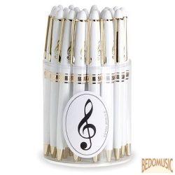 Fehér golyóstoll, aranyszínű violinkulcs mintával