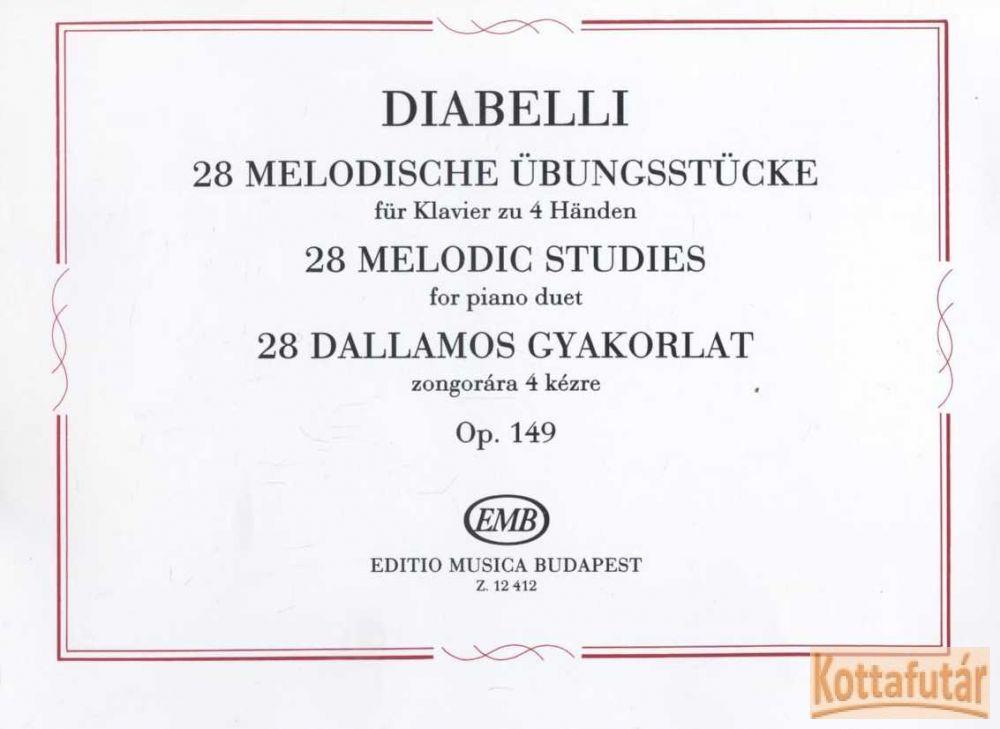 28 dallamos gyakorlat zongorára 4 kézre