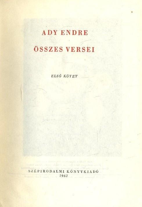 Ady Endre összes versei I-II. (1962)
