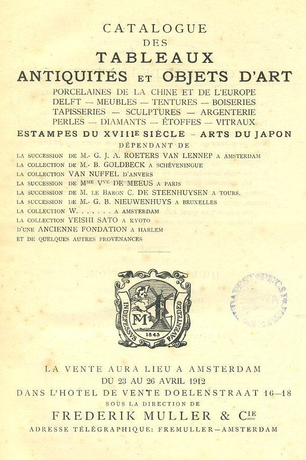 Catalogue des tableaux antiquites et objets d'art